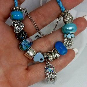 Pandora Bracelet w/ Blue Charms